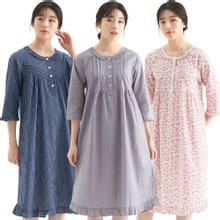 [메이플라워] 국내제작 순면잠옷 여성잠옷 아사면 7부소매 원피스잠옷 14종
