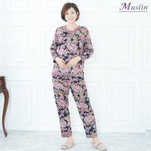 다중꽃라인 면상하세트홈웨어 -HS1069- 모슬린 엄마옷