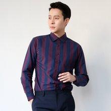 [파파브로]남성 스트라이프 캐주얼 정장 면 남방 셔츠 LSC-ST-003-와인