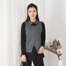 마담4060 엄마옷 하나조끼카라티셔츠-ZTE910049-