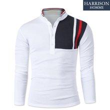 [해리슨] 남자 가슴 배색 3줄 긴팔 카라티셔츠 MDL1303