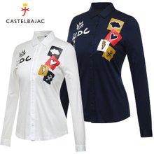 [까스텔바작] 순면 도형 컬러 블럭 여성 카라넥 긴팔 셔츠/골프웨어_BG7FTS509