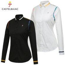 [까스텔바작] 면스판 컬러 라인 여성 카라넥 긴팔 셔츠/골프웨어_BG8FSH501