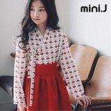 [미니제이(miniJ)]주니어 패션한복/레드 플라워 저고리&치마 SET
