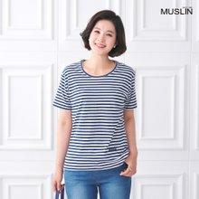 엄마옷 모슬린 반팔 보더 라운드 티셔츠 TS005229