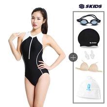 여성 Y자 지퍼형 실내수영복+사은품4종 SKW-C357SET