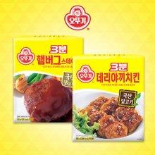 [오뚜기] 3분 햄버그스테이크 140g x 12팩 + 3분 데리야끼 치킨 150g x 12팩