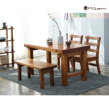 소나무 통원목 4인용1350식탁 (등받이의자2개+긴의자1개)