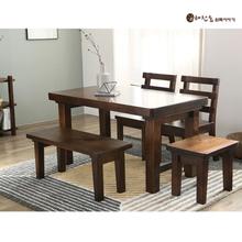 소나무 통원목 4인용1350식탁 (등받이의자2개+긴의자1개+스툴의자1개)