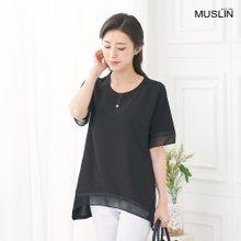 엄마옷 모슬린 진주 라운드 티셔츠 TS006306