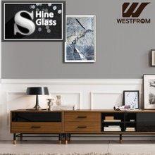 [웨스트프롬] NEW빈티지카누B) 2900 샤인글래스 STEEL Wood Leg 거실장 풀세트 / 블랙
