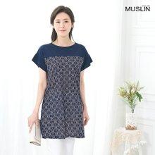 엄마옷 모슬린 패턴 배색 라운드 블라우스 BL006315