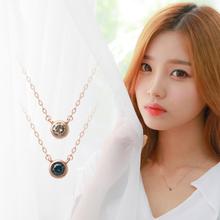 라운드_1부 다이아몬드 14K 로즈골드 목걸이