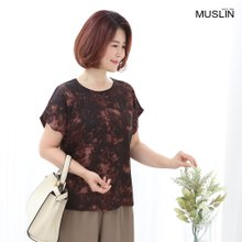 엄마옷 모슬린 인견 밤색 무늬 티셔츠 TS007007