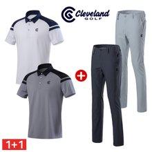 코디세트 [클리브랜드골프] 남성 어깨배색 반팔티셔츠 + 냉감 지퍼포켓 골프바지/골프웨어_CG227711