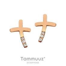 [타뮤즈] 14K 십자홍금큐-G3017E-핑크골드-귀걸이-선물추천