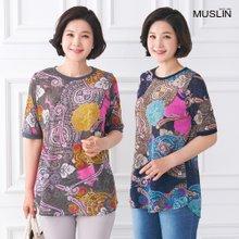 엄마옷 모슬린 퀸 페이즐 라운드 티셔츠 TS005201