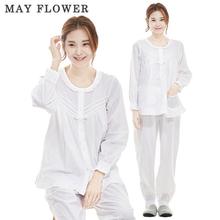 [May Flower] 국내자체제작 여성잠옷 순면40수 클래식화이트 긴팔 상하세트 [S/M/L]