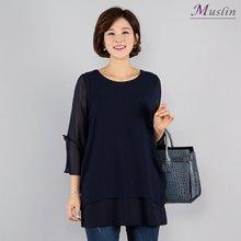 소매리본 티셔츠 -TD8032314-모슬린 엄마옷 마담 미시