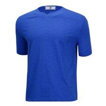[파파브로]남성 여름 국산 슬릿넥 반팔 면 티셔츠 LM-H-SCH-블루
