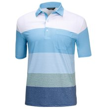 [파파브로]남성 여름 국산 패턴 반팔 스판 카라 티셔츠 HL-H9-121-스카이