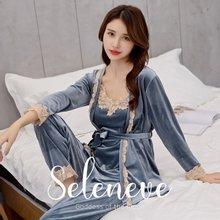 셀레니브1218 여성 벨벳 슬립 가운 3종세트 (5color)