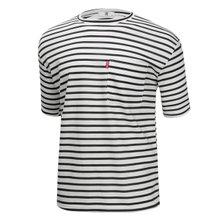 [파파브로]남성 국산 스트라이프 면 반팔 티셔츠 LM-H-STR-블랙