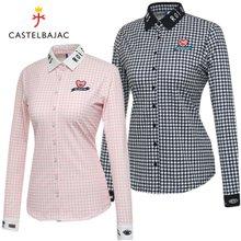 [까스텔바작] 폴리스판 파스텔 체크 여성 카라넥 긴팔 셔츠/골프웨어_BG8FTS504