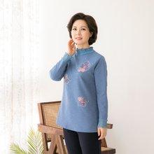 마담4060 엄마옷 반짝이는플라워티셔츠 QTE902014