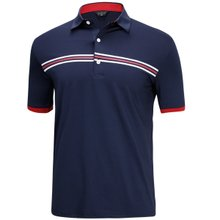 [파파브로]남성 여름 국산 패턴 반팔 스판 카라 티셔츠 HL-H9-127-네이비