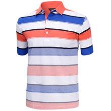 [파파브로]남성 국산 스트라이프 반팔 카라 면 티셔츠 HL-H9-720-오렌지