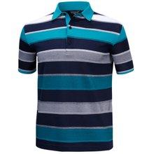 [파파브로]남성 국산 스트라이프 반팔 카라 면 티셔츠 HL-H9-721-청록