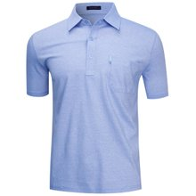 [파파브로]남성 국산 여름 줄무늬 반팔 면 카라티셔츠 LM-H9-861-블루