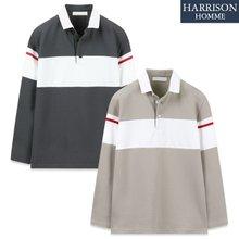 [해리슨] 남자 3022 배색 카라 긴팔 티셔츠 TOS1198