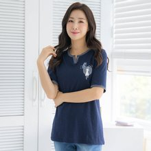 마담4060 엄마옷 캣체크배색티셔츠-ZTE005054-