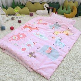 [디자인엔스토리] 알러지케어 엔 애니멀즈 낮잠이불세트 일체형-핑크(밴드형)