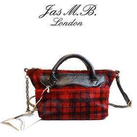 [Jas M.B.] 영국 직수입 명품 소가죽 레드체크 포인트 여성 미니토트백 Art.MiniWingsTraveller