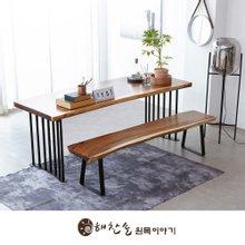 해찬솔 꼬우꼬통원목 6인용식탁세트 1800G-as/책상테이블/보르네오월넛 우드슬랩