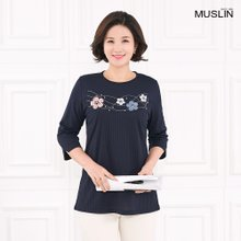 [엄마옷 모슬린] 가슴꽃 라운드 티셔츠 TS003216