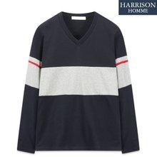 [해리슨] 남자 3030 배색 V넥 테잎 긴팔 티셔츠 TOS1204