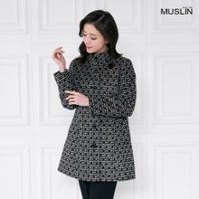 엄마옷 모슬린 제비 체크 패턴 하이넥 자켓 JK911003