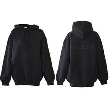 [발렌시아가]19FW 570798 TFV70 1055 남녀공용 백로고 워싱 후드 셔츠 블랙