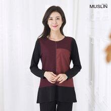 엄마옷 모슬린 체인 배색 티셔츠 TS907248