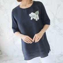 엄마옷 데드라 TBZ3918 플라워포인마배색티셔츠