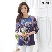 엄마옷 모슬린 플라워 라운드 티셔츠 TS006038
