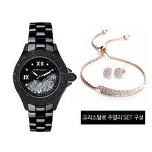 [해리메이슨] 크리스탈로 여성 시계 (HM-1308)+크리스탈로 주얼리 SET