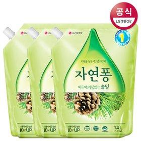 [자연퐁] 솔잎 설거지 주방세제 리필 1.4L x3개 오렌지 쌀뜨물
