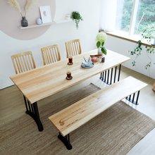 우드인미 박달나무 6인 원목식탁 세트1800B-as_베이지/의자포함/6인용식탁/원목식탁테이블/카페테이블