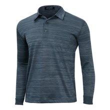 [파파브로]남성 국산 패턴 긴팔 카라 면 티셔츠 LM-A9-303-네이비