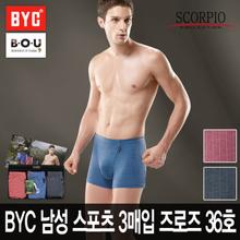 [비오유]BYC 남성 스포츠 3매입 즈로즈 36호/고급원사 흡한속건